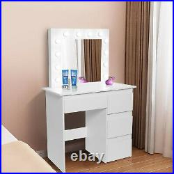 Makeup Table LED Vanity Set With Lighted Mirror Cushioned Stool Dressing Table