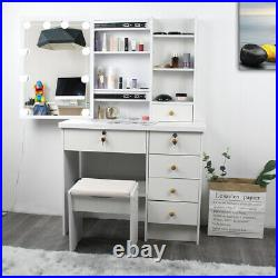 Makeup Vanity Desk Dressing Table Set with Touch LED Light Mirror Stool Drawers