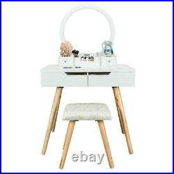 Makeup Vanity Dressing Table 4 Drawers& Round Mirror Jewelry Wood Desk White
