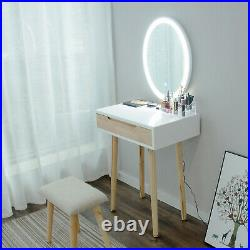 Makeup Vanity Dressing Table Set 3 Led Lights Mirror Stool with Drawer Jewelry