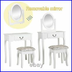 Makeup Vanity Dressing Table Set With Drawer Rotating Mirror Oval-shaped White