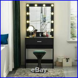 Makeup Vanity Dressing Table Set WithStool Led Mirror Drawers Jewelry Organizers