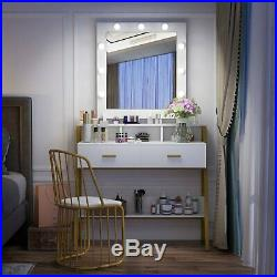 Makeup Vanity Dressing Table with 2 Drawers Hollywood Style Lighted Mirror Desk
