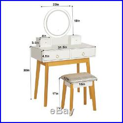 Makeup Vanity Jewelry Dressing Table Set Led Round Mirror Stool Desk with Drawer K