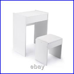 Makeup Vanity Makeup Dressing Table Set withFlip Top Cushioned Stool White