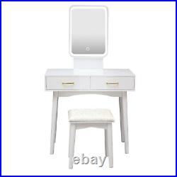 Makeup Vanity Set Dressing Table 3 Variable LED Light Mirror with Stool White
