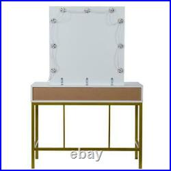 Makeup Vanity Set Dressing Table With LED Light Mirror 2 Jewelry Drawer Bedroom