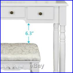 Makeup Vanity Table Set Mirror Dressing Table With 5 Drawers White