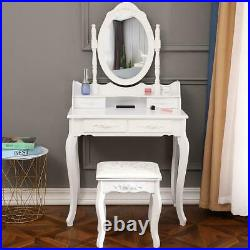 Makeup Vanity Table Set With 4 Drawers Oval Mirror Girls Dressing Table White