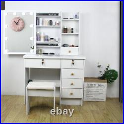 Makeup Vanity Table Set with 10 Lights Mirror & 6 Drawers Stoold Dressing Desk