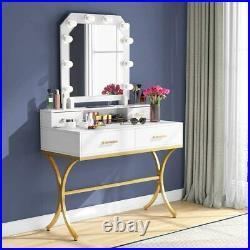 Makeup Vanity Table Set with Drawers & Large Mirror with Lights, Dressing Table