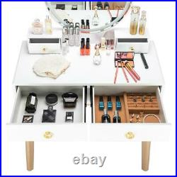 Makeup Vanity Table Set with Stool Jewelry Organizer Case Touch LED Light Mirror