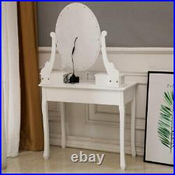 Makeup Vanity Table Sets With10 LED Lighted Mirror Cushioned Stool Dressing Desk
