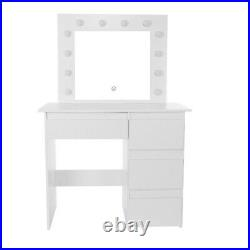Makeup Vanity Table with Lighted Mirror Home 4 Drawers Dressing Table Stool Set