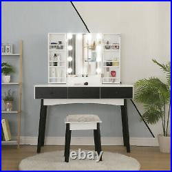 Makeup Vanity Table with10 Lighted Mirror Home 3 Drawers Dressing Table Stool Set