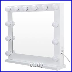 Makeup Vanity White Hollywood Mirror with Light Stage Large Beauty