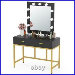 Makeup mirror Vanity Dressing Table with 9 Lights and 2 Drawers
