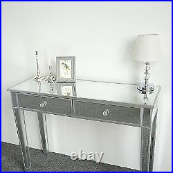 Mirrored Makeup/Console Table Desk Vanity for Women with 2 Drawers