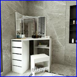 Modern Bedroom White Corner Makeup Vanity Table with 3 Mirrors and 5 Drawers