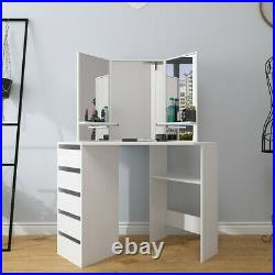 Modern Bedroom White Corner Makeup Vanity Table with 3 Mirrors and 5 Drawers NEW