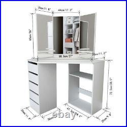 Modern Bedroom White Corner Makeup Vanity Table with 3 Mirrors and 5 Drawers US