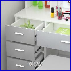 Modern Dressing Table Mirror Stool Makeup Desk Vanity Set With 5 Drawers White