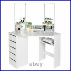 Modern Fashionable Vanity Set 5 Drawers Dressing Table Makeup Desk with 3 Mirrors