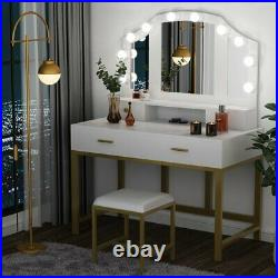 Modern Lighted Makeup Vanity Table 3 Mirrors, 4 Drawers & Padded Stool White+Gold