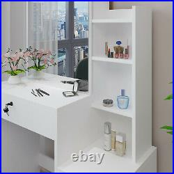 Modern Makeup Dressing Table Vanity Set with 4 Drawers & Shelf Removable Mirror
