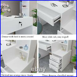 Modern Makeup Dressing Table Vanity Set with4 Drawers And Removable Mirror White