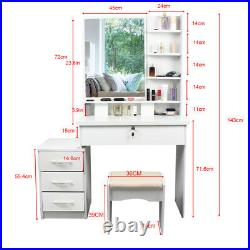 Modern Mirror Makeup Dressing WOOD Table Set with LED Lighted 4 Drawers white
