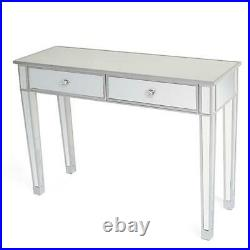 Modern Simplicity Glass mirrored Makeup Table Desk Vanity with 2 Drawers Silver