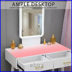 NEW LED Mirror Makeup Vanity Dressing Table Set With Stool Dimmable Vanity Set