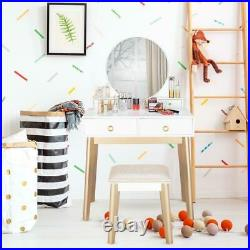 New Bedroom Makeup Vanity Table Dressing Desk with Stool Round Mirror 4 Drawers