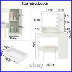 New Vanity Set With Lighted Mirror Cushioned Stool Dressing Table Makeup Table