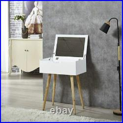 Organizedlife Makeup Vanity Dressing Table With Flip Mirror White Solid Wood