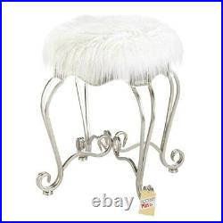 Silver Scrolled Vanity Makeup Bathroom Seat Stool White Faux Fur Home Decor