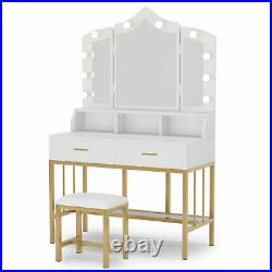 Tribesigns Vanity Set with Lighted Mirror and Stool Women Makeup Table w Drawers