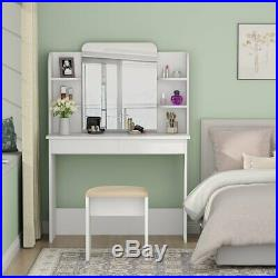 Tribesigns Vanity Set with Mirror White Makeup Dressing Table with Cushioned Stool