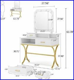 Tribesigns Vanity Table with Lighted Mirror & 4 Drawers, Make-up Dresser Table