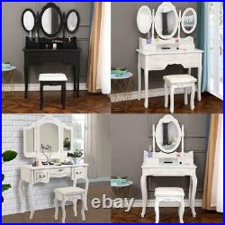 Vanity Jewelry Makeup Dressing Table Stool Set with 3/4/5/7 Drawers Wood Desk