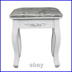 Vanity Jewelry Makeup Dressing Table Stool Set with 7 Drawers and 3 Mirror Desk
