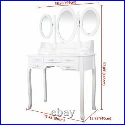 Vanity Jewelry Makeup Dressing Table Stool Set with 7 Drawers and 3 Mirror White