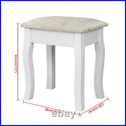 Vanity Jewelry Makeup Dressing Table Stool Set with Mirror&4/5/7 Drawers Wood Desk