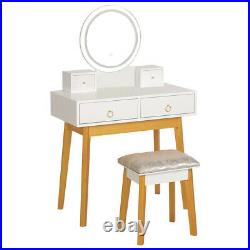 Vanity Led Lighted Table Set with 4 Drawers Cushioned Stool Makeup Dressing Table