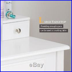 Vanity Makeup Dressing Table Set 3 Drawers with Stool & Mirror Wood Desk White