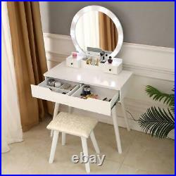 Vanity Makeup Dressing Table Set Desk with Drawers LED Lights Mirror Jewelry Wood