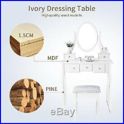 Vanity Makeup Dressing Table Set Jewelry Wood Desk with Stool 5 Drawers & Mirror