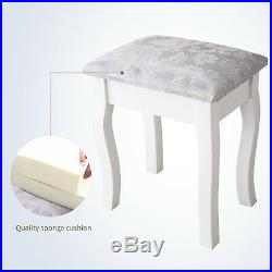 Vanity Makeup Dressing Table Set with Drawer Stool & Mirror Jewelry Desk White