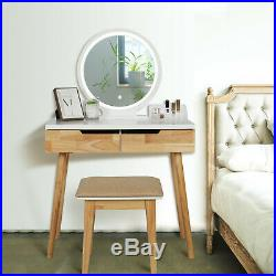 Vanity Makeup Dressing Table Stool Set Round LED Mirror Desk with2 Drawers Bedroom